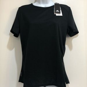 Adidas Women's three stripe black tee size medium
